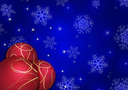 adorn: Christmas background with snowflakes and globes in blue colored scenery