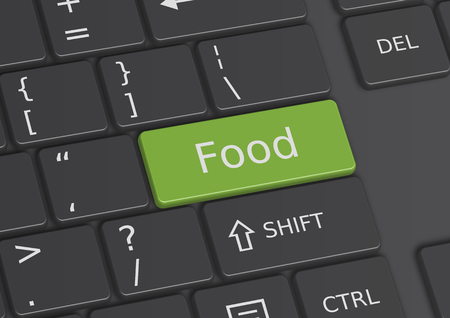 edibles: The word Food written on a green key from the keyboard