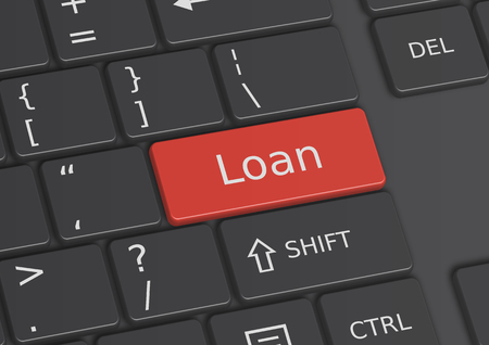 indebtedness: The word Loan written on a red key from the keyboard