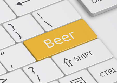 cufflink: The word Beer written on an orange key from the keyboard Stock Photo