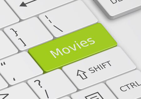 The word Movies written on a green key from the keyboard Stock Photo