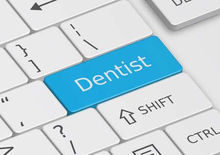 cufflink: The word Dentist written on a blue key from the keyboard