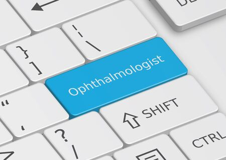 ophthalmologist: The word Ophthalmologist written on a blue key from the keyboard Stock Photo
