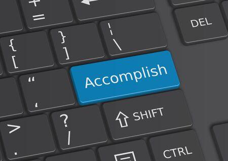 accomplish: The word Accomplish written on a blue key from the keyboard Stock Photo