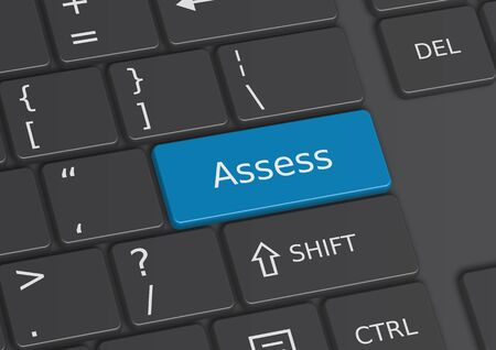 assess: The word Assess written on a blue key from the keyboard
