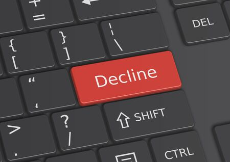 The word Decline written on a red key from the keyboard