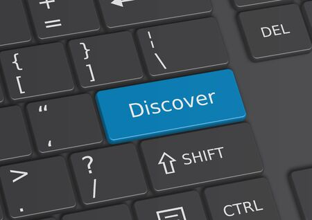 The word Discover written on a blue key from the keyboard Stock Photo