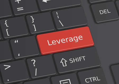 leverage: The word Leverage written on a red key from the keyboard