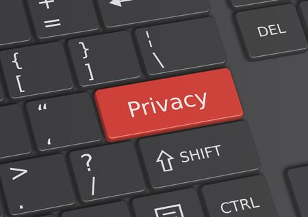 The word Privacy written on a red key from the keyboard Stock Photo