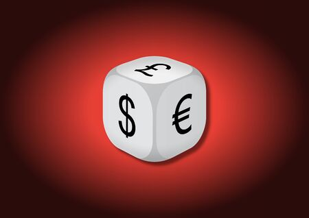 A 3D illustration of a dice with currency symbols. On each face of the dice are illustrated symbols of dollar, euro and pound. Stock Photo