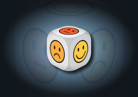 representing: A 3D illustration of a dice with emotion symbols. On each face of the dice are illustrated symbols representing different emotional states.