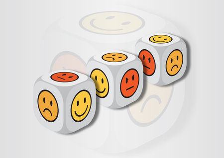 representing: A 3D illustration of three dice with emotion symbols. On each face of the dice are illustrated symbols representing different emotional states.