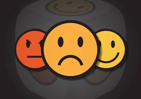 sentiment: An illustration of three smiley faces