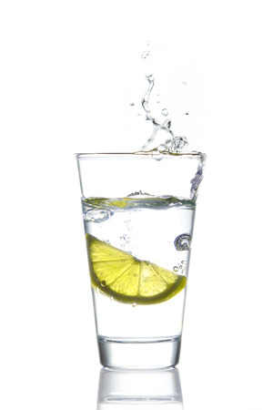 fits in: Glass of water with lemon Stock Photo