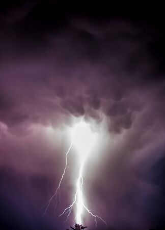 Storm front with strong lightning photo