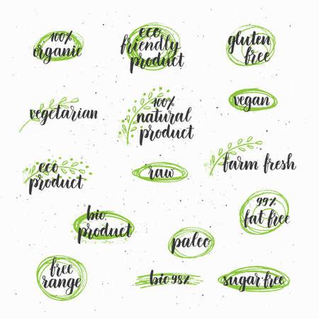Modern brush lettering organic, farm fresh, gluten free, vegan, vegetarian, paleo, eco, bio, Ink hand lettering
