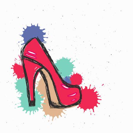 Fashion illustration, vector sketch, brand shoe background
