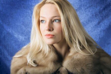 Beautiful woman. Winter fashion & makeup. Photo.  photo