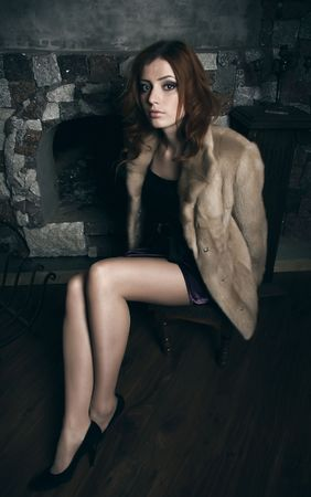 Beautiful woman in expensive fur. Winter fashion & makeup. Photo.  photo