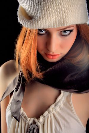 Beautiful redhead young woman with scarlet lips. Stock Photo - 5639968