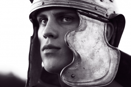 roman soldiers: Roman soldiers. Close-up face.  Stock Photo