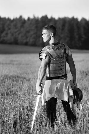 roman soldier: One Roman soldier in field.