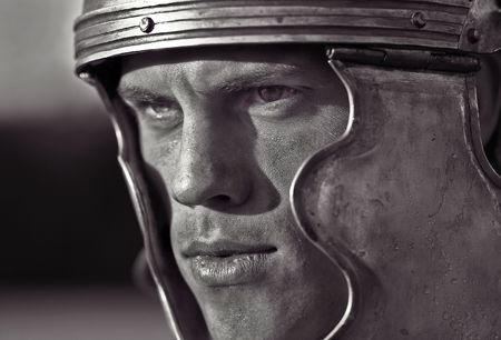 Roman soldiers. Close-up face.   photo