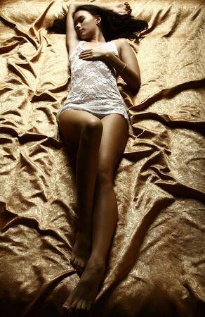 cleavage: The sleeping beauty. Fashion  Stock Photo