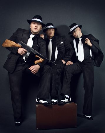 Three gangsters. Gangster gang Photo.  photo