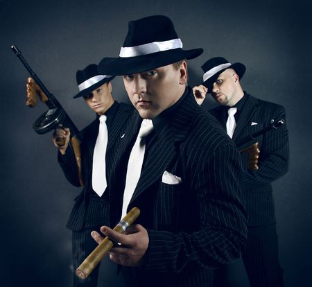 gang: Three gangsters.  Stock Photo