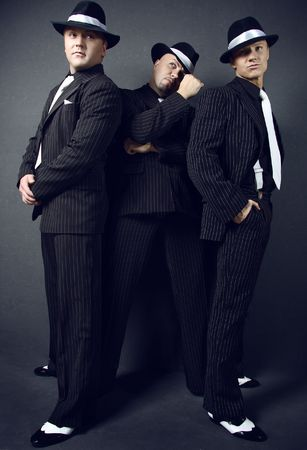 Three gangsters.  Stock Photo