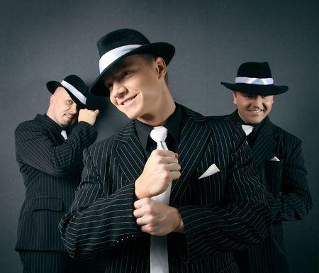 hooligan: Three gangsters.  Stock Photo