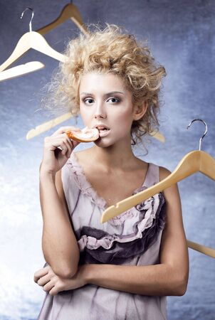Winter Girl with beautiful make up with flying hangers Stock Photo - 5938617