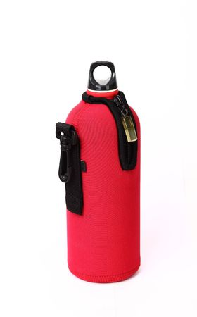 Red hot flask for diving isolated on white background photo