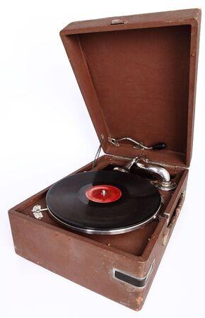 gramophone: Old-fashioned retro gramophone isolated on white background