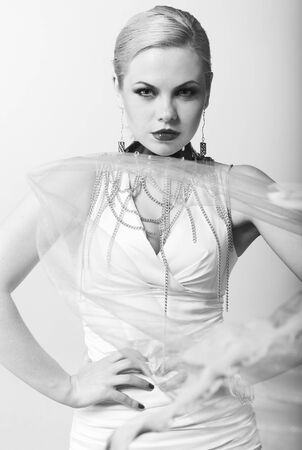 Fashion model with trendy hairstyle. B&W photo.  photo