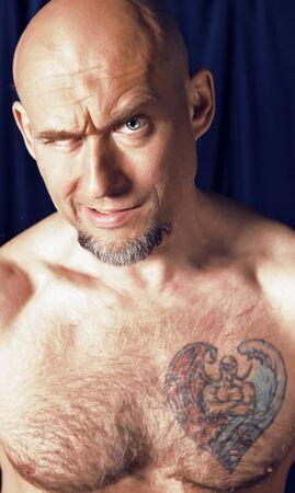 Portrait of one-eyed circus athlete. Stock Photo - 7548789