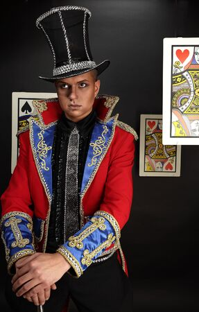 Man in expensive suit of illusionist-conjurer