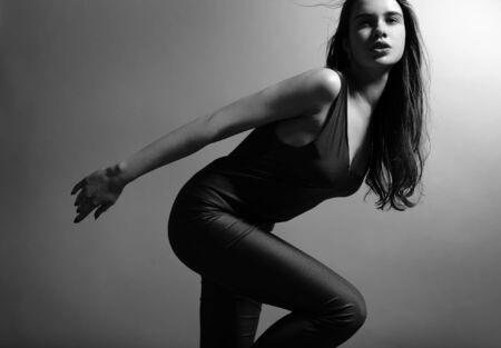 Studio fashion portrait of beautiful woman. photo