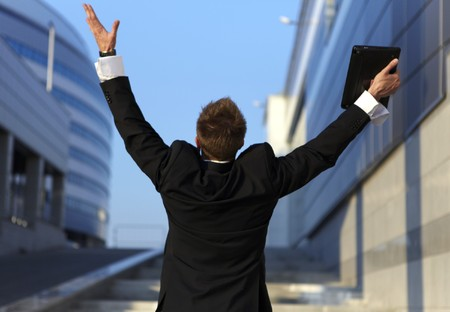 Freedom - Business man - arms outstretched Stock Photo - 7549500