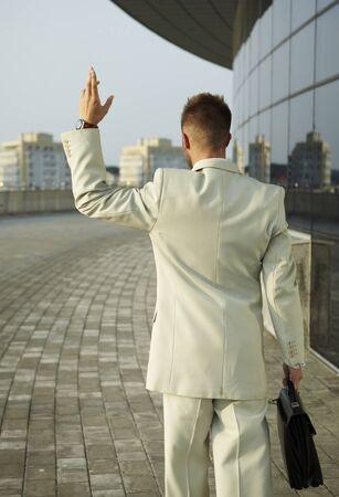 gone: stressed businessman gone away Stock Photo