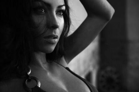 Black-white portrait of young romantic beauty. photo