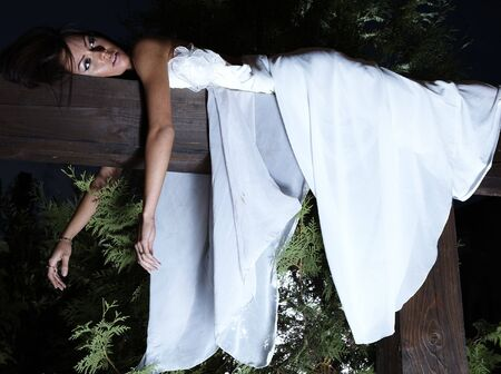 Attractive suntanned girl in white dress poses on a wooden beam. Stock Photo - 8038062
