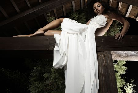 Attractive suntanned girl in white dress poses on a wooden beam. Stock Photo - 8037956