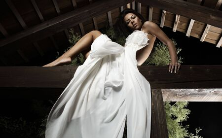 Attractive suntanned girl in white dress poses on a wooden beam. photo