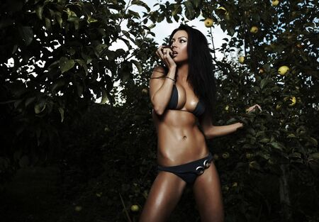 Sexual beauty dressed bikini poses in an autumn garden of apples. Stock Photo - 8091866