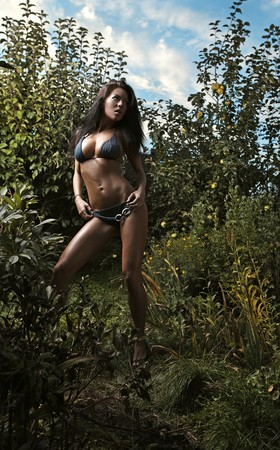 Sexual beauty dressed bikini poses in an autumn garden of apples. photo