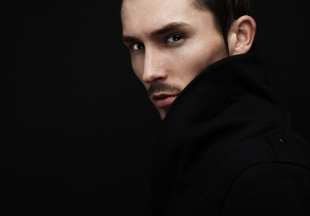 intense: Young mans portrait. Close-up face.