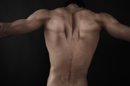 Low key image of muscular male back Stock Photo - 8201350