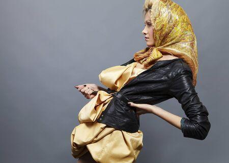 Beauty blond modern slavic style. photo